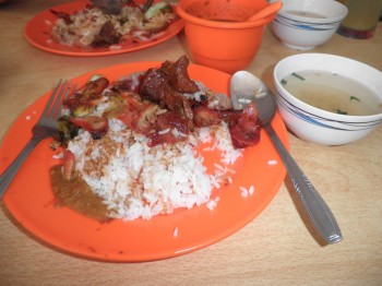 Mixed pork rice