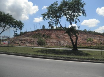 Barren land with red soil is a common sight in Batam
