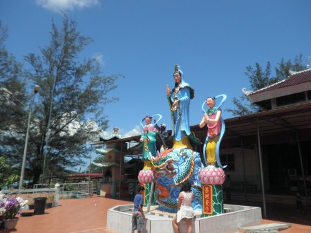 Guanyin (Kwan Im, as commonly referred to by Indonesians) goddess statue in the yard of Quan Am Tu Quil